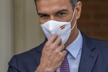 Spanish Prime Minister Pedro Sanchez gestures during his meeting with Chilean President Sebastian Pinera at the Moncloa palace in Madrid, Spain, Tuesday, Sept. 7, 2021. (AP Photo/Manu Fernandez)