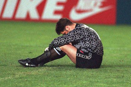 FILE PHOTO: Arsenal goalkeeper David Seaman is left dejected after being beaten for the winner in their 2-1 European Cup Winners' Cup final defeat by Real Zaragoza