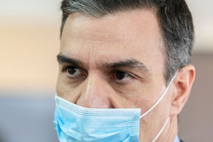 Spanish PM Sanchez wears a face mask and protective gloves amid the coronavirus disease (COVID-19) outbreak in Mostoles