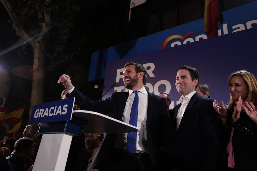 Conservative Popular Party leader Pablo Casado appears outside the party headquarters after the announcement of almost 100 per cent of the general election results in Madrid, Spain, Monday, Nov. 11, 2019. Spain's Interior Ministry says that results show Socialists winning Spain's national election, but without a clear end to the country's political deadlock. (AP Photo/Manu Fernandez)