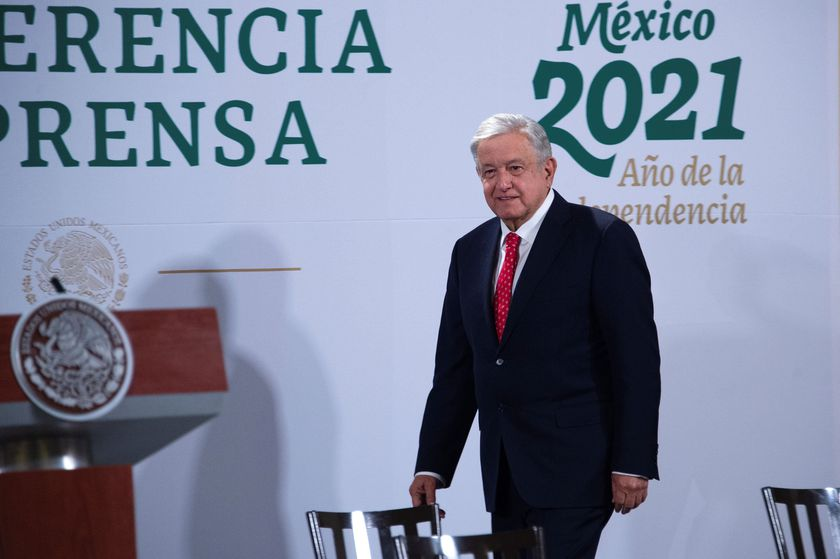 Mexico's President Andres Manuel Lopez Obrador attends a news conference where said he wished everything goes well to President-elect Joe Biden ahead of his inauguration later in the day, at the National Palace in Mexico City, Mexico January 20, 2021. Mexico's Presidency/Handout via REUTERS ATTENTION EDITORS - THIS IMAGE HAS BEEN SUPPLIED BY A THIRD PARTY. NO RESALES. NO ARCHIVES