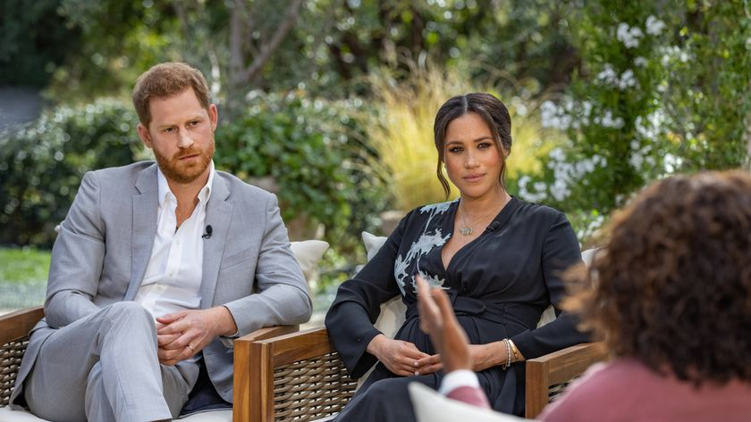 Prince Harry Duke of Sussex, and his wife Meghan, Duchess of Sussex, during their interview with Oprah Winfrey.