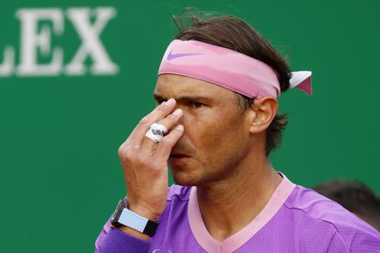 Tennis - ATP Masters 1000 - Monte Carlo Masters - Monte-Carlo Country Club, Roquebrune-Cap-Martin, France - April 16, 2021 Spain's Rafael Nadal reacts during his quarter final match against Russia's Andrey Rublev REUTERS/Eric Gaillard
