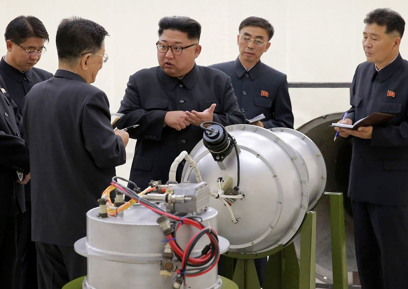 FILE - This undated file photo distributed by the North Korean government shows North Korean leader Kim Jong Un, center, at an undisclosed location in North Korea. (Korean Central News Agency/Korea News Service via AP, File)
