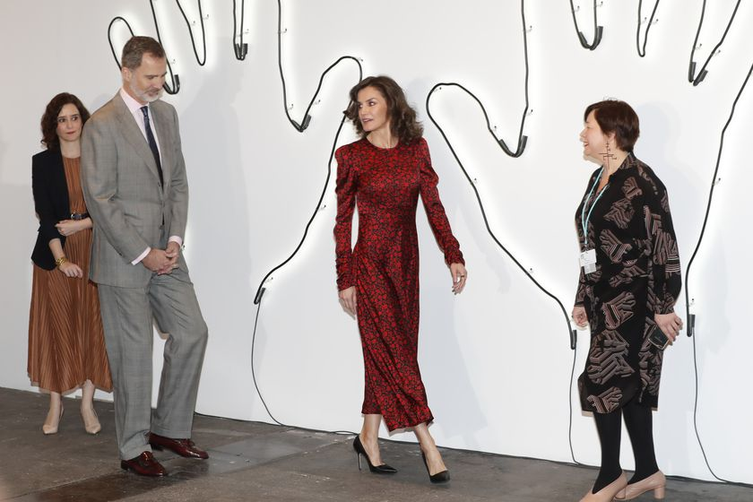 """Spainish King Felipe VI and Letizia Ortiz with CAM President Isabel Diaz Ayuso during inauguration of the 39th edition of the International Contemporary Art Fair """" ARCO """" in Madrid on Thursday, 27 February 2020."""