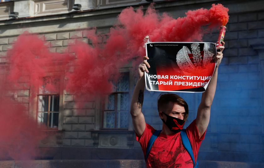 An activist takes part in a protest against amendments to Russia's Constitution in central Saint Petersburg