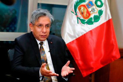 Peru's Minister for Energy and Mines Ivan Godofredo Merino Aguirre talks to Reuters, in Lima, Peru July 30, 2021. Picture taken July 30, 2021. Peru Ministry of Energy and Mines/Handout via REUTERS ATTENTION EDITORS - THIS IMAGE HAS BEEN SUPPLIED BY A THIRD PARTY. NO RESALES. NO ARCHIVES