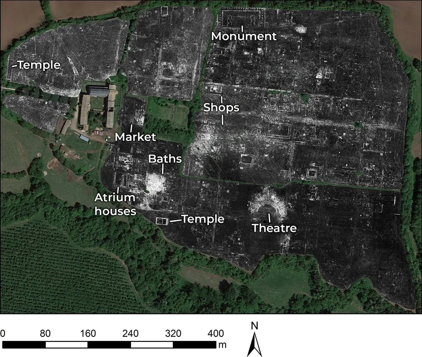 A Ground Penetrating Radar map of the newly discovered temple in the ancient Roman city of Falerii Novi in Italy