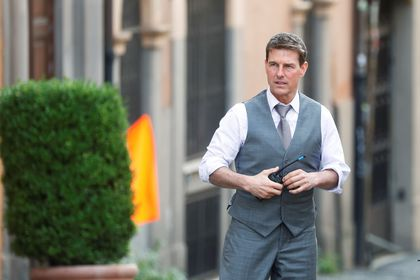 """Actor Tom Cruise is seen on the set of """"Mission Impossible 7"""" while filming in Rome, Italy October 6, 2020. REUTERS/Yara Nardi"""