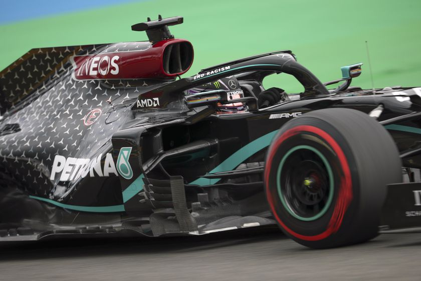 Mercedes driver Lewis Hamilton of Britain steers his car during the qualifying session for the Formula One Grand Prix at the Spa-Francorchamps racetrack in Spa, Belgium Saturday, Aug. 29, 2020. (Francisco Seco, Pool via AP)
