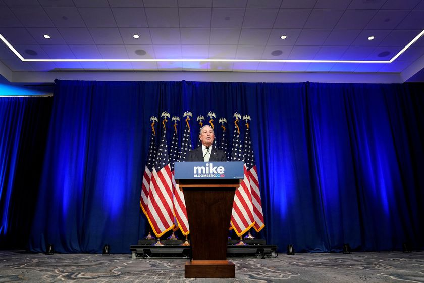 FILE PHOTO: Democratic U.S. presidential candidate Michael Bloomberg addresses a news conference after launching his presidential bid in Norfolk, Virginia