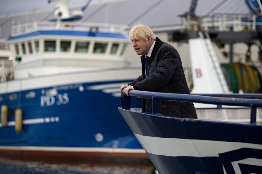 FILE PHOTO: Britain's Prime Minister Boris Johnson is seen aboard the Opportunus IV fishing trawler in Peterhead