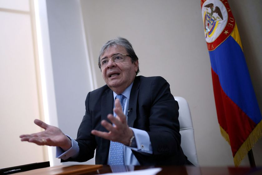 FILE PHOTO: Colombian Minister of Defense Carlos Holmes Trujillo speaks during an interview with Reuters in Bogota, Colombia November 27, 2020. Picture taken November 27, 2020. REUTERS/Luisa Gonzalez/File Photo