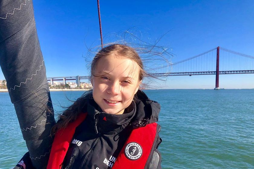 Climate change activist Thunberg poses before arriving in Lisbon