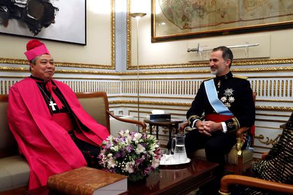 Spain's King Felipe VI receives credentials from new Holy See ambassador, in Madrid