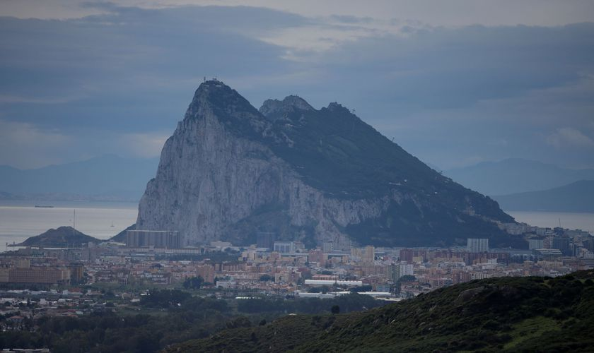 FILE PHOTO: The Rock of the British overseas territory of Gibraltar is seen from the Spanish side of the border near La Linea de la Concepcion