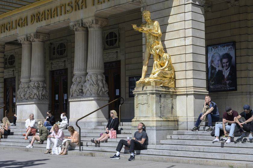 People enjoy the sunny weather in Stockholm