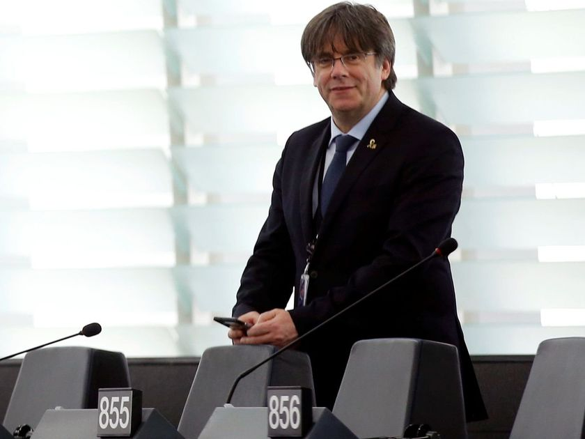Former member of the Catalan government Carles Puigdemont is seen at the European Parliament in Strasbourg