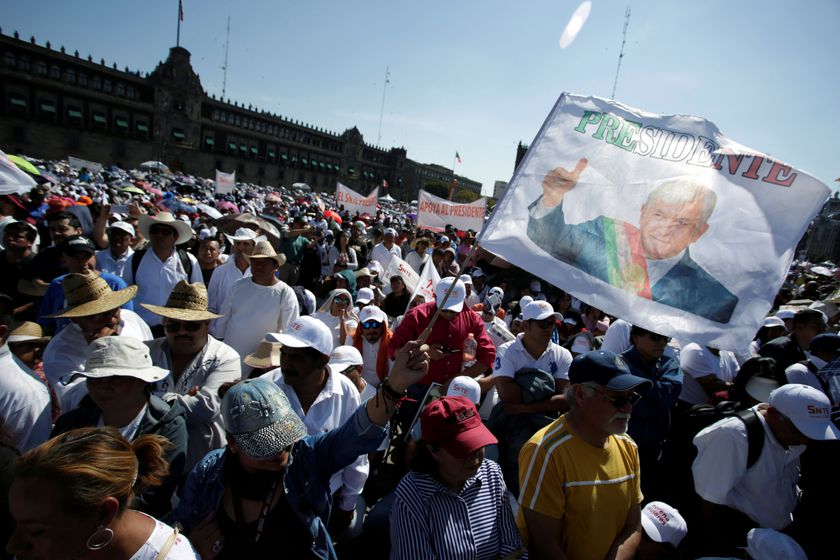 Mexican President Andres Manuel Lopez Obrador celebrates the anniversary of his first year in office