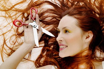 Young woman portrait  horizontal people one 20-25 years young adult red hair red-haired redhead portrait face beauty make up make-up cosmetology cosmetic woman scissors