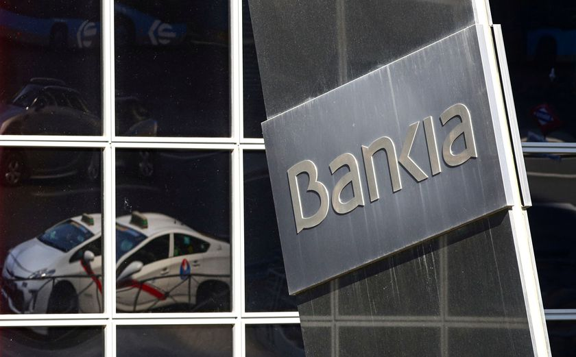FILE PHOTO: A logo of Bankia bank is pictured outside its headquarters in Madrid