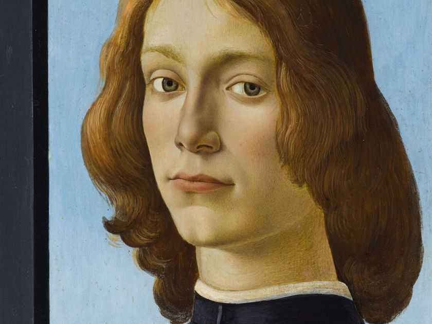Property from an Important Private Collection  Alessandro di Mariano Filipepi, called Sandro Botticelli  Florence 1444/5 – 1510  Portrait of a young man holding a roundel