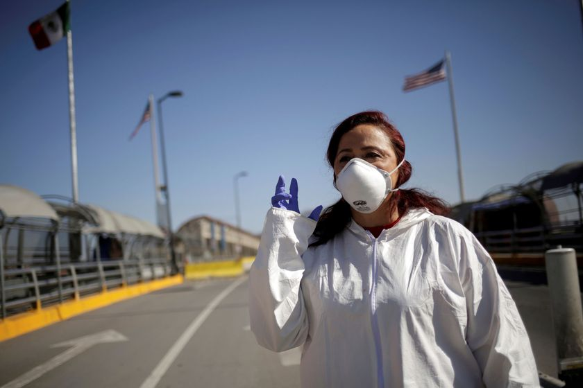 FILE PHOTO: Susana Prieto, a lawyer and labor activist, gestures during an interview with Reuters at the Paso del Norte international border crossing bridge in Ciudad Juarez