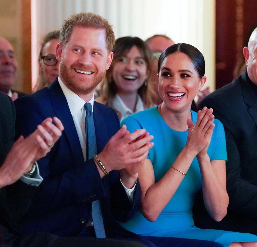 FILE PHOTO: Britain's Prince Harry and his wife Meghan, Duchess of Sussex, cheer during the annual Endeavour Fund Awards at Mansion House in London, Britain March 5, 2020. Paul Edwards/Pool via REUTERS/File Photo