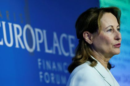 FILE PHOTO: Former French Ecology Minister Segolene Royal delivers a speech during the Paris Europlace International Financial Forum in Paris