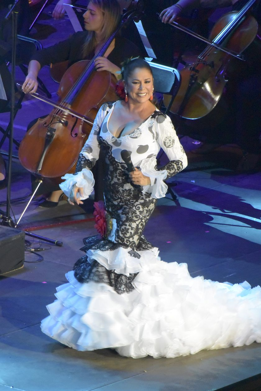 Singer Isabel Pantoja performs during a concert at Gran Canaria Arena, in Canary Islands.
