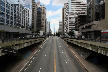 Paulista Avenue is seen empty on the first day of lockdown imposed by state government because of the coronavirus disease (COVID-19) outbreak, in downtown Sao Paulo