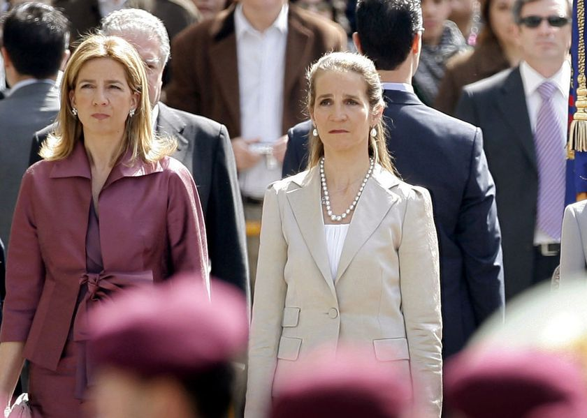 "FILE - In this Wednesdday, April 16, 2008 file photo, Spain's Princess Cristina, left and Princess Elena, listen to the Spanish national anthem during a ceremony, upon their arrival for the opening of the Spanish Parliament, after Jose Luis Rodriguez Zapatero's Socialist Party won the general elections on March 9, in Madrid. The sisters of Spanish King Felipe VI have acknowledged on Wednesday, March 3, 2021, that they were administered COVID-19 vaccines during a visit to the United Arab Emirates. In a statement published by a Spanish newspaper, the Infantas Elena and Cristina said that they were ""offered the possibility"" of receiving vaccines while in Abu Dhabi to visit their father and former monarch, Juan Carlos I.  (AP Photo/Daniel Ochoa de Olza, File)"