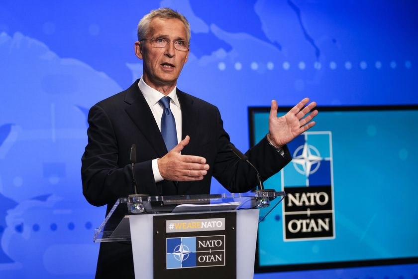 FILE - In this Friday, Aug. 20, 2021 file photo, NATO Secretary General Jens Stoltenberg gestures during an online news conference at NATO headquarters in Brussels. NATO Secretary-General Jens Stoltenberg urged China Monday, Sept. 6, 2021 to join international efforts to limit the spread of nuclear weapons amid concern that the country is rapidly developing missiles capable of carrying atomic warheads. (AP Photo/Francisco Seco, Pool, File)