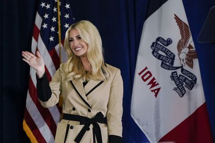 Ivanka Trump, daughter and adviser to President Donald Trump, waves to supporters during a campaign event at the Iowa State Fairgrounds, Monday, Nov. 2, 2020, in Des Moines, Iowa. (AP Photo/Charlie Neibergall)