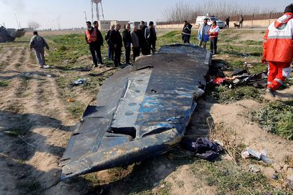 FILE PHOTO: General view of the debris of the Ukraine International Airlines, flight PS752, Boeing 737-800 plane that crashed after take-off from Iran's Imam Khomeini airport, on the outskirts of Tehran