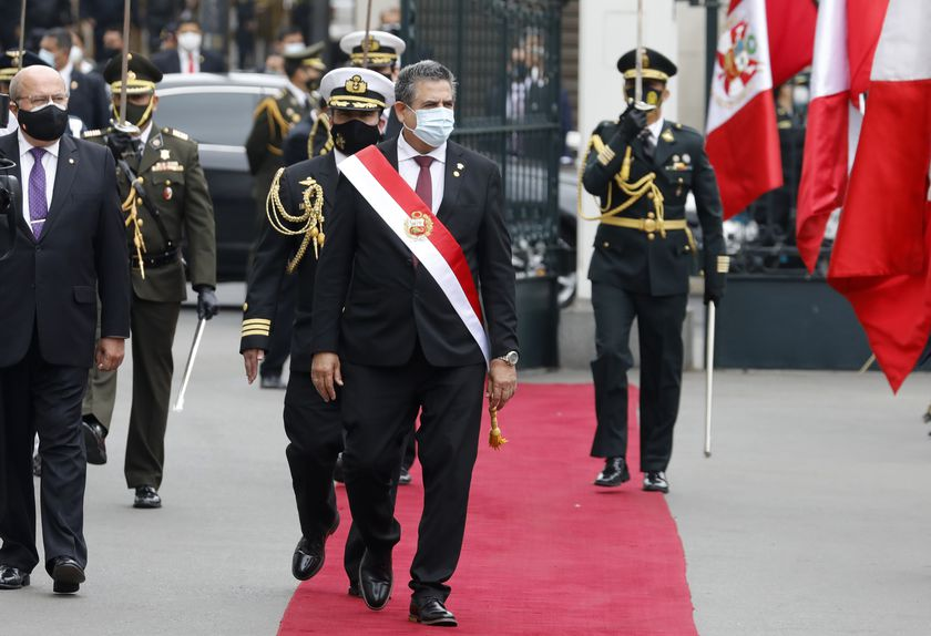 10 November 2020, Peru, Lima: President of Congress Manuel Merino (C) walks outside the Congress building after being sworn-in as Peru's new president, replacing Martin Vizcarra who was removed by lawmakers. Photo: Mariana Bazo/ZUMA Wire/dpa