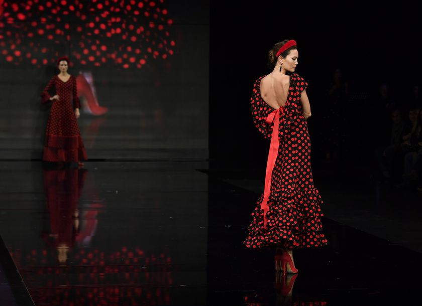 A model presents a creation by Lourdes Montes during the SIMOF in Seville, Spain on Thursday 30 January, 2020.