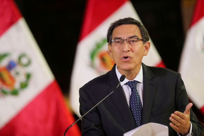 FILE PHOTO: Peru's President Martin Vizcarra addresses the nation, as he announces he was dissolving Congress, at the government palace in Lima, Peru September 30, 2019. Peruvian Presidency/Handout via REUTERS ATTENTION EDITORS/File Photo