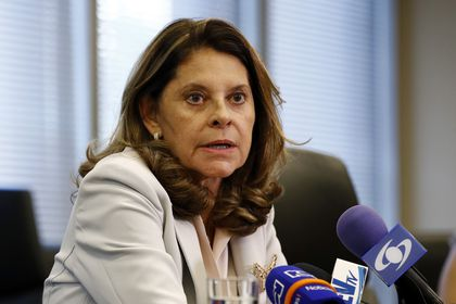 FILE - In this May 6, 2019 file photo, Colombia's Vice President Marta Lucia Ramirez speaks at a news conference at the Colombian embassy in Washington. President Ivan Duque has named Ramirez on Wednesday, May 19, 2021, to be the country's next Foreign Minister. (AP Photo/Patrick Semansky)
