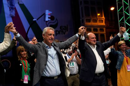 Basque premier Inigo Urkullu celebrates his party's victory in regional elections at Basque Nationalist Party (PNV) headquarters in Bilbao