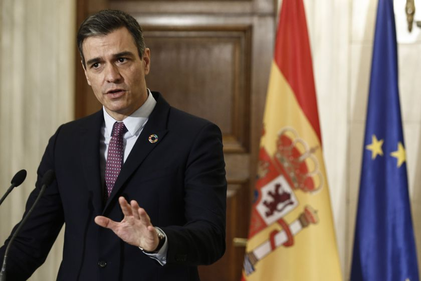 Athens (Greece), 10/05/2021.- Prime Minister of Spain, Pedro Sanchez talks next to Greek Prime Minister Kyriakos Mitsotakis (not pictuerd) during joint statements after their meeting in Athens, Greece, 10 May 2021. Pedro Sanchez is in Athens on a working visit. (Grecia, España, Atenas) EFE/EPA/YANNIS KOLESIDIS