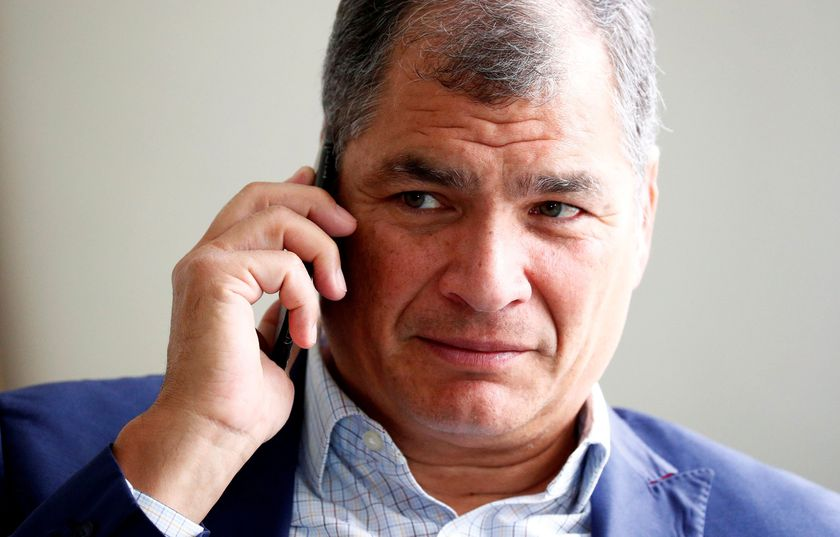 FILE PHOTO: Ecuador's former president Correa is pictured ahead of an interview with Reuters in Brussels