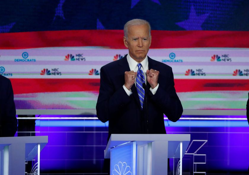 FILE PHOTO: Former Vice President Joe Biden speaks during the second night of the first U.S. 2020 presidential election Democratic candidates debate in Miami, Florida, U.S.