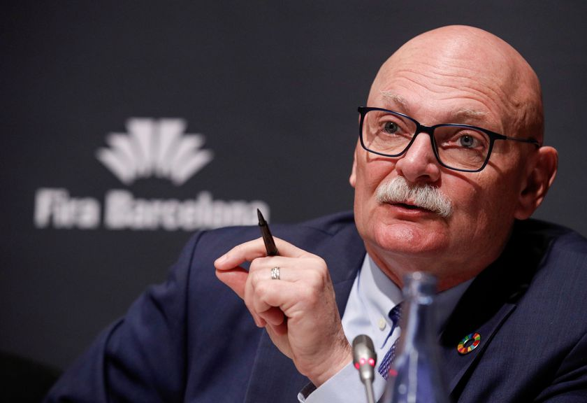 GSMA's CEO John Hoffman speaks during a news conference to discuss cancellation of the Mobile World Congress (MWC) in Fira de Barcelona