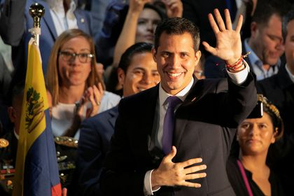 Venezuela?s opposition leader Guaido arrives at a rally with Venezuelans living in Miami