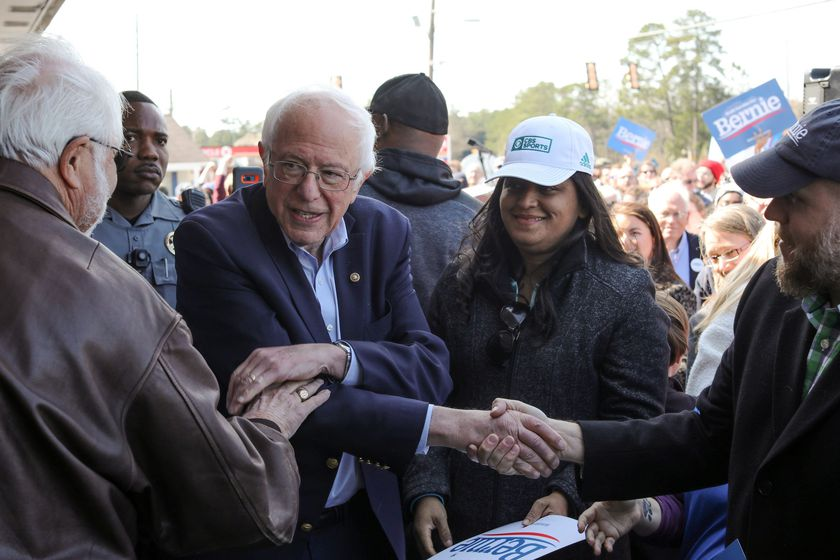Democratic 2020 U.S. presidential candidate Sanders departs after rallying supporters at a campaign office in Aiken, South Carolina