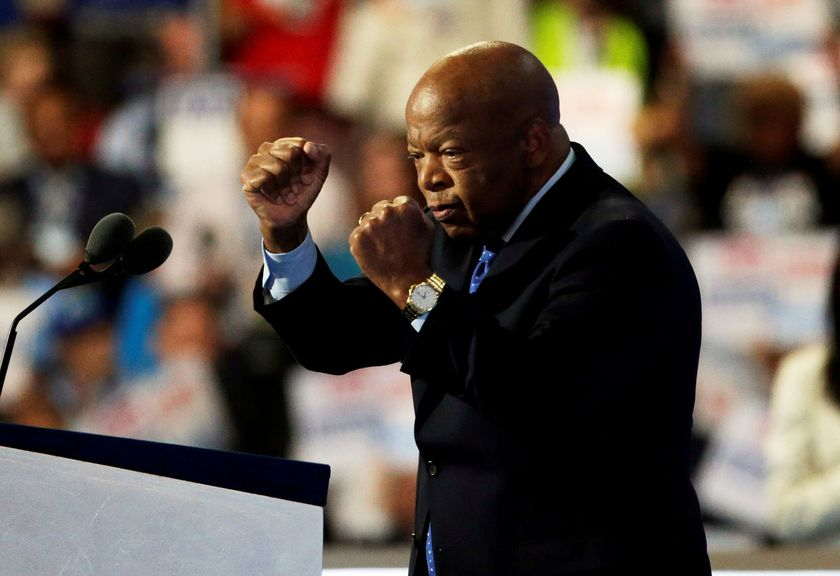 FILE PHOTO:  John Lewis takes the podium during the Democratic National Convention in Philadelphia