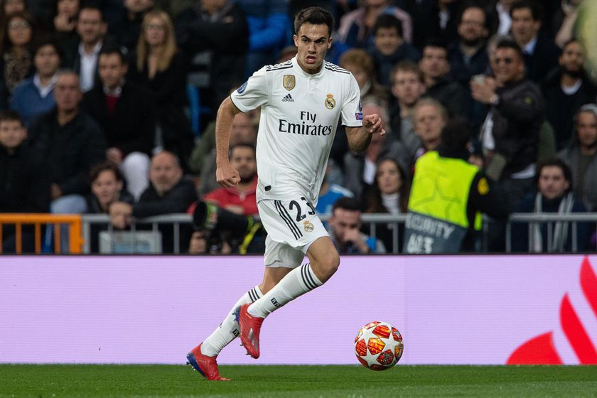 Reguilón, en un partido del Real Madrid