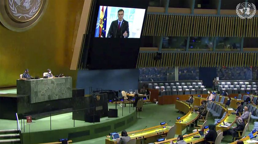 In this image made from UNTV video, Pedro Sanchez Perez-Castejon, Prime Minister of Spain, speaks in a pre-recorded message which was played during the 75th session of the United Nations General Assembly, Friday, Sept. 25, 2020, at UN headquarters. (UNTV via AP)