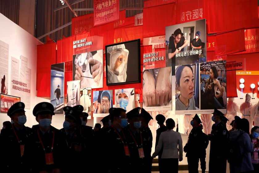 Visitors are seen at a newly opened exhibition on Wuhan's fight against the coronavirus disease (COVID-19) outbreak, at an exhibition centre in Wuhan, Hubei province, China October 15, 2020. China Daily via REUTERS  ATTENTION EDITORS - THIS IMAGE WAS PROVIDED BY A THIRD PARTY. CHINA OUT.